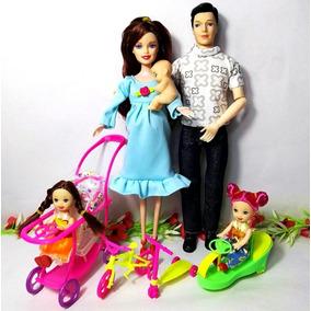 Boneca Gravida Real Família Feliz (mãe, Pai, 2filhas E Bb)