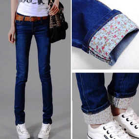 Jeans Moda Asia Skinny Con Detalle Floral + Blusa De Regalo