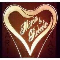 Luminária De Tomada, Coração Personalizado Com Nome Do Casal