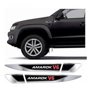 Emblema Adesivo Volkswagen Vw Amarok V6 Resinado Cromado Aplique Lateral Carro Res30