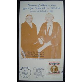 Postal Usa Jan Paderewski Champiom Of Liberty 1960 First Day