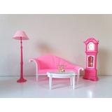Lote Móveis Sala Barbie - Sofá, Relógio, Mesa, Luminária