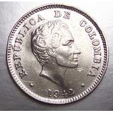 Moneda Colombia 10 Centavos 1942 Ley .900 # 1
