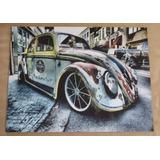 Placa Decorativa Mdf Fusca Estilizado Enferrujado Volkswagen