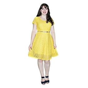 Vestido Moda Evangélica Em Renda Evasê Feminino Sd 071