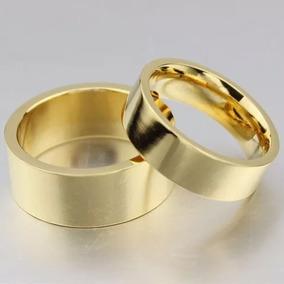Par De Aliança Reta Banhada A Ouro 18k Com Garantia Dourada