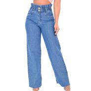 Calça Jeans Pantalona  Feminina Cintura Alta  Flare Jogger