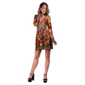 Vestido Visco Transparente E Pregas Banna Hanna Floral Verme