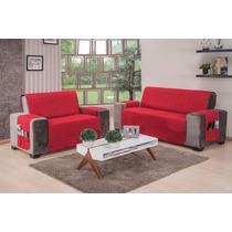 Forro Protetor Para Sofá Vermelho 3 X 2 Lugares Frete Grátis
