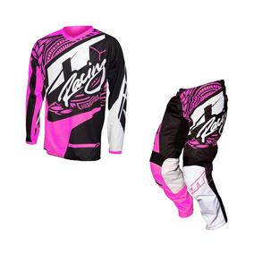 Kit Para Niños Jt Racing Flex Victory Negro Rosa Motocross