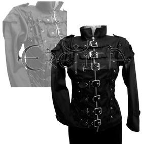 Eretica Ropa Dark- Chamarra Algodon 7 Hebillas.gotico.metal