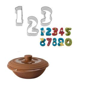 Set Cortantes Números + Fundidor De Chocolate En Silicona