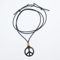 Colar Masculino Cordao Simbolo Da Paz Moda Hippie