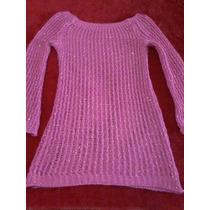 Sweater Tejido Fucsia Con Lurex Largo S