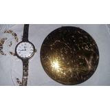 Reloj Pulsera De Mujer Cornavin A Cuerda Y Polvera Antigua