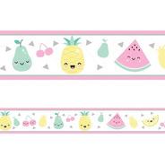 2 Faixas Decorativa Adesivo Border Infantil Fruta Frutinhas