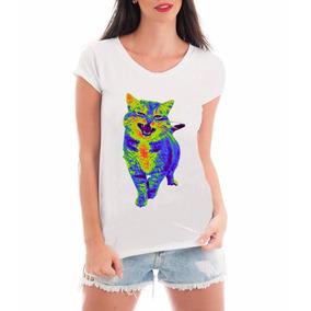 T Shirt Feminina Roupas Gato Psicodélico Camiseta Blusa