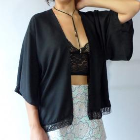 Comprar Kimono Feminino Preto Franja