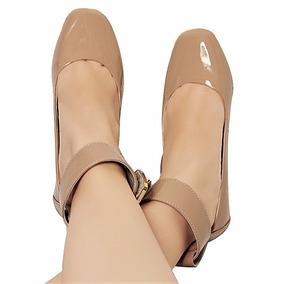 Sapato Feminino Nude Verniz Boneca Social Sapatilha Retro