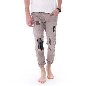 Pantalón Casual Hombre Con Parches Beige Importado Italiano