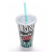 Copo Com Canudo De Acrílico Muito Linda - Animal Print Zebra