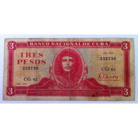 Billete De 3 Pesos Cubano, Original, Muy Raro