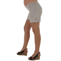 Short De Gabardina Para Embarazada Con Faja Con Bolsillo