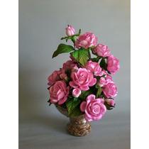 Arranjo Moderno Artificial De Flor Em Eva Mini Rosa Em Taça