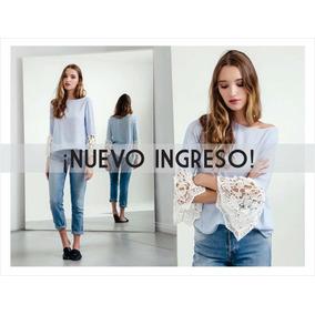 Camisa Blusa Rayada Con Aplique Por Talle
