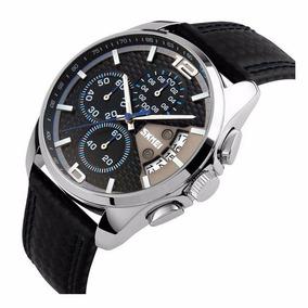 Reloj Daytona Blue Cronografo Piel Genuina Sumergible 50mts