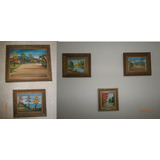 Cinco Bellas Pinturas Al Oleo De Pintor Trujillano G. Lugo