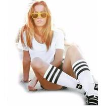Meia Branca Listrada Listras Knee Socks Joelho Rock Estilo
