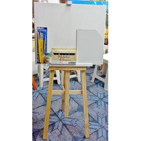 Kit De Pintura Completo; Cavalete+tela+palheta+tintas+piceis