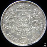 Letonia 5 Lati 1931 Monedón De Plata 25g