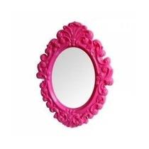 Espelho De Parede Rosa Grande Plastico Oval Princess