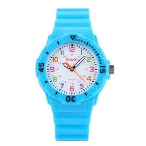 Relógio Infantil Skmei 1043 Analógico Azul Claro Com Nf