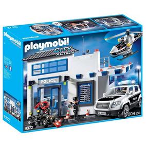 Playmobil - Posto Policial Com Heliponto, Carro De Polícia