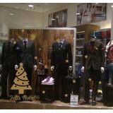 Adesivo Vitrine Loja Feliz Natal + Arvore + Estrelas N01p