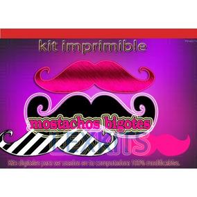 Kit Imprimible Invitaciones Mostachos Bigotes