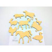 Kit Animales Granja X10u - Mdf / Fibrofacil