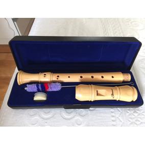 Flauta Doce Germanica Em Madeira Macica Profissional