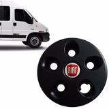 Calota Preta Centro Roda Ferro Ducato Aro 16 Emblema Fiat