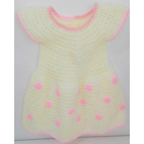 Vestido Tejido 100% A Mano, Para Niña Color Marfil/rosa