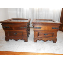 Mesas Laterais Antigas (duas) Madeira Maciça - Tampo Granito