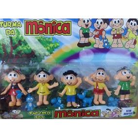 5 Bonecos Miniatura Turma Da Mônica Cebolinha Cascão Magali