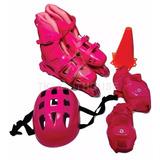 Patins Pink Feminino Com Kit De Proteção Completo
