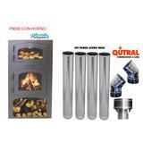 Qutral, Estufa A Leña Patagónica 9000 C/horno + Kit Pared Ac
