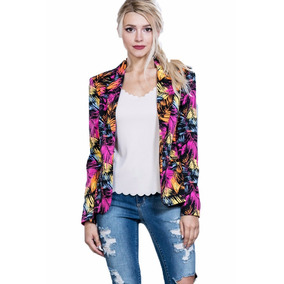 Blazer Ark & Co. Negro Con Estampado Tropical Multicolor