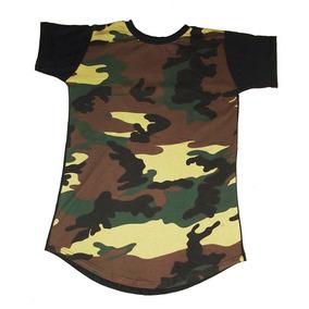 Camiseta Longline Camuflada Camisa Oversized Masculina