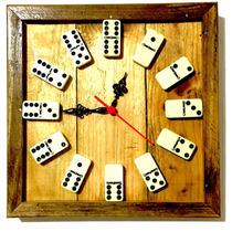 Relógio De Dominó Em Madeira Rustica